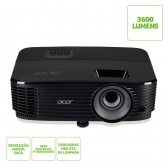 Projetor Acer X1123H / Dlp / Svga / 3.600 Lumens / Vga / Hdmi / 3D / Pc Audio-In-Out/ Speaker 3W / Preto